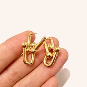 Hot Fashion Titanium Steel Jewelry Explosion Models No Word Chain Earrings 2 Section U-Shaped Chain Stud Earrings for woman