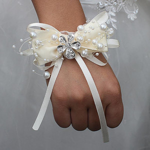Ivoire Marfim Noeud papillon Perle Perlée Mariage Poignet Fleurs De Demoiselle D'honneur De Mariage Ruban Cristal Corsages Poignet Fleurs