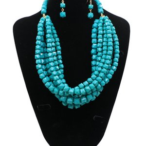 Charming Turquoise Yellow Blue Orange Jewelry 2 Pieces Sets Necklace Earrings Bridal Jewelry Bridal Accessories Wedding Jewelry T226351