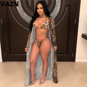 wholesale Beach fashion 2020 summer sexy lady 3-piece leopard set body shorts halter bikini tops set full sleeve long coats sexy set