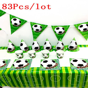 83pcs / Lot Futbol Takımı Futbol Yemekler Çocuk doğum günü partisi Doğdun Partisi Seti Futbol Kağıt Plate Malzemeleri Yana