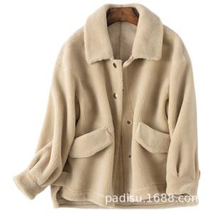 울 자켓 가을 겨울 코트 여성 의류 2019 Streetwear 리얼 모피 코트 한국어 빈티지 탑스 양 Shearling 스웨이드 라이닝 3306