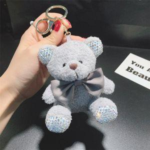 Nette Plüsch Teddy Sitzposition Bär Keychain Flash Diamond Puppe Auto Schlüsselanhänger Ring Damen Tasche Anhänger Nette Keychain