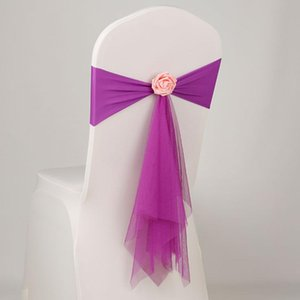 Organza del telaio della sedia spandex Ante con Rosa sfera fiore artificiale Wedding Lycra Bow Decorazione della fascia del legame