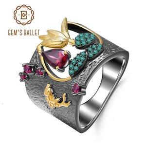BALLET 925 de dedo de plata esterlina Las piedras preciosas de Gem Anillo 0.52ct Rhodolite granate Anillos hechos a mano de aves natural para las mujeres CJ191205