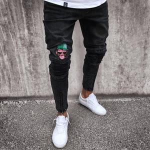 Pop2019 European Black Jeans Man Modèle Zipper Cross Border Pour