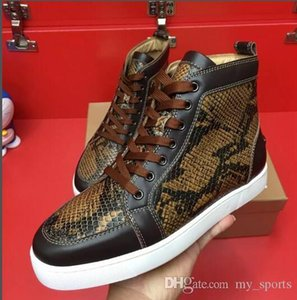 Best Quality Python Leather Red Bottom Sneakers Rantus Orlato Luxury Design Men Flat High Cut Genuine Leather Skateboard Sneakers Lace-up