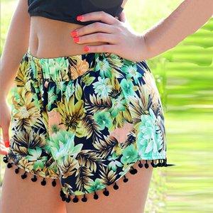 Plus Size Mulheres Shorts Ladies Shorts Verão 2019 Floral Pom Praia Tassel Bohemian National Vento solto Womens Curto Feminino Plus Size Xl