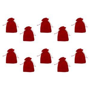 10PCS 12x9cm Red Velvet Drawstring Pouches Bags Earrings Jewelry Packaging Gift Bag Wedding Christmas Gift Bag
