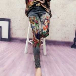 plus size 25-32!spring autumn Casual Denim Skinny painted Pencil Jeans elastic Bronzing Painted Pattern Jeans