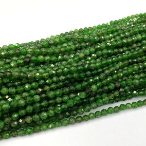 """Orijinal Doğal Yeşil Krom Diyopsit Faceted Yuvarlak Küçük kolye Bilezikler Boncuk 2mm 3mm 4mm 15.5"""" 06380"""