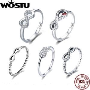 Anillos barato WOSTU caliente de la venta 100% 925 Anillo de plata del infinito por un regalo muchacha de las mujeres S925 anillos de dedo de plata joyería de la boda DXR332