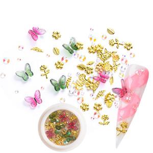 1 scatola di arte del chiodo 3D decorazioni in metallo Foglie della Rosa posteriore piana Rhinstones resina farfalla misto del manicure fai da te disegni unghie Accessori