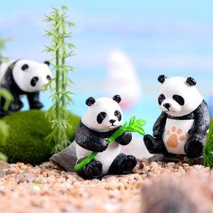4 Pcs set Cute Panda Miniature Garden Resin Crafts Ornament Garden Home Decoration Mini Animal Artificial Micro Landscaping