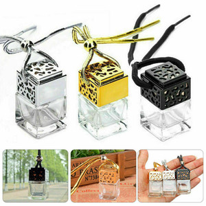 Cube Hollow Car Perfume Bottle Ornament Hanging Air Freshener For Essential Oils Diffuser Fragrance Empty Glass Bottle Pendant GH020