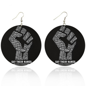 AprilGrass Marca stampato African Power Fist legno di goccia orecchini con il nero Abita Matters Afro Storia Figura nomi per regalo delle donne Nero