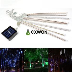LED قطاع الخفيفة 30CM 144LED الشمسية النيزك دش المطر أنبوب عيد الميلاد ضوء سلسلة حفل زفاف حديقة في الهواء الطلق إضاءة