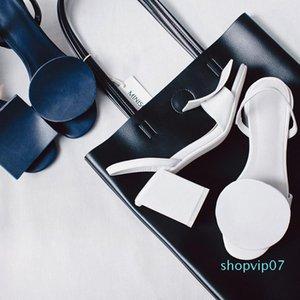 Venta-Avy diseñador azul de las señoras sandalias única baja talones de cuero genuino zapatos de verano T Muestra gladiadores femeninas punta abierta caliente