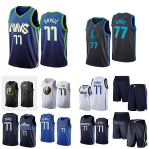 Erkekler basketbol DallasMavericks77 LukaDoncic swingman Beyaz ve mavi şehir basketbol forması ve pantolon