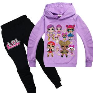 Mädchen Frühling / Herbst beiläufige Art und Weise Puppe Druck-Rosa-Langarm-Kapuzen Sport Hosen Anzug Kinder / Baby-lila Anzüge Set Kinder