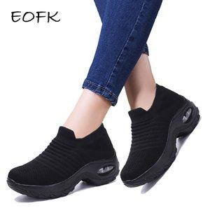 EOFK Mulheres Plataforma Shoes Mulher 2019 Moda Outono Lady Flats Queda Casual Grosso Inferior Sapatos Pretos Sock mocassim Dança