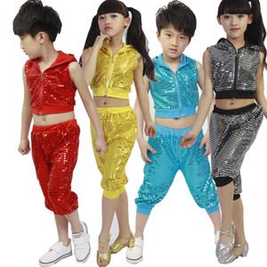 Bambina Bambino paillettes Ballroom Jazz Hip Hop Dance Costumes Concorso Kid ballano vestiti con cappuccio shirt Top Pantalone indossare ballare Outfit