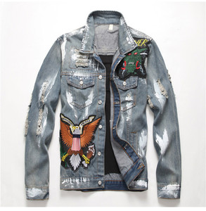 Men's jean jacket Outerwear 2019 Men's slim American flag embroidered ripped Trendy letters birds distressed denim top coat