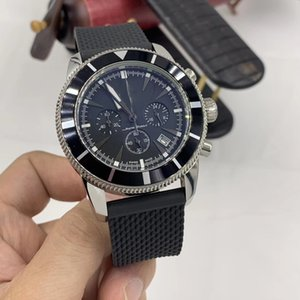 Wholesale 47MM Superocean Luminous Index Marker Mens Watches Quartz Chronograph Chronometer Silver Case Watch Black Rubber Band Wristwatches