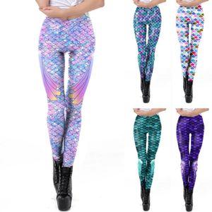 2020 New Sexy Girl Pencil Pant Mermaid Fish Scale3D Prints Elastic Slim Fitness Workout Women Leggings