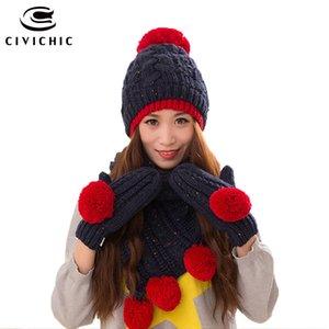 CIVICHIC Kış Kadın Örgü Şapka Eldiven Sıcak Seti Sahte Yün Şal Pompon kasketleri Skullies Şapkalar Kalınlaşmak Eldivenler SH170 Scarf