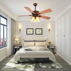 Fan Lamba Düzenleme Odası Elektrik Kahverengi Fan Lamba Yatak Sessiz Hızını Yemek Amerikan Country Ceiling Fan Işık Ev Salon