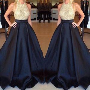 Black Elegant Gold Sequin Long Evening Dresses 2020 Custom made Sexy Open Back Party Dress For Prom Vestidos De Noche