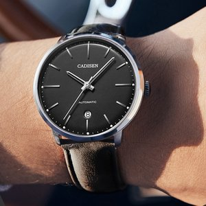 CADISEN Men Mechanical Watch Top Waterproof Leather Casual Automatices Male diver Clock Wrist watches heren horloge