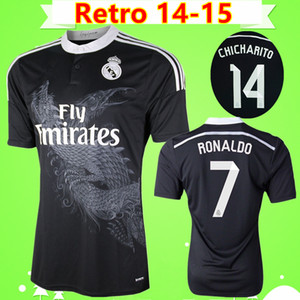 Ronaldo Chicharito Benzema Bale Isco James 2014 2015 Real Madrid Retro-Fußball Trikot 14 15 Jahrgang dritten schwarzen Fußballtrikot chinesischen Drachen