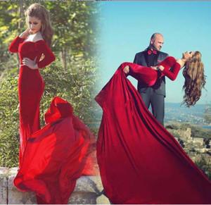 브라질 와인 붉은 색 여성 긴 꼬리 Fishtail 이브닝 드레스 Watteau 벨벳 High_End 맞춤형 인어 레드 이브닝 드레스