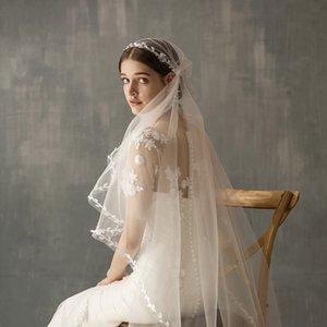 Atemberaubende Waltz Länge Blatt-Form-Spitze-Ordnungs-Juliet Cap Brautschleier Vintage Wedding Schleier für Bräute