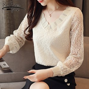 2019 New Fashion Elegant Casual Women Blouse Solid Women Tops Lace Long Sleeve V-neck Women Clothing Autumn Korean Style 5958 50 T200320