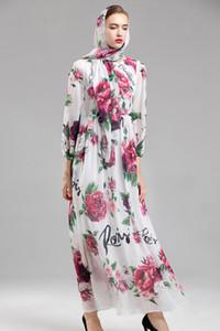 2018 Autumn Winter Women's Runway Dresses O Neck Long Sleeves Roses Printed Sash Belt Floral Casual Long Elegant Dresses