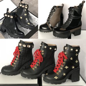 Meilleure plate-forme lauréat du prix Desert Boot femmes Bee Trail Bottines en cuir Filles Martin Bottes Chunky talon Chaussures Outsole Impression Chaussures