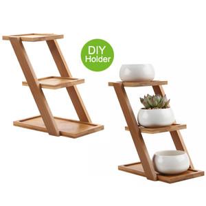 succulente plante en bambou plante stand étagère détient 3 pots de fleurs air planteurs titulaire planteurs Stand avec pots de macaï