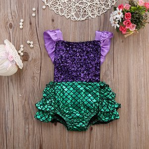 Infant Toddler Newborn Baby Girl Sequins Romper Jumpsuit Outfits Sunsuit Mermaid Swimwear Swimming