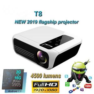 Proyector LED T8 4500 lúmenes 1920 * 1080 de cine en casa Full HD 1080P Amlogic S905 2G 16G Android 7.1 Proyector Beame