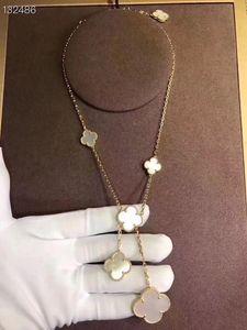 Vintage magischer Alhambra Marken-Designer-Kupfer mit 18k Gold überzogener 6 Keramik Weiß Groß und Klein vierblättriges Kleeblatt-Blumen-Anhänger Halskette