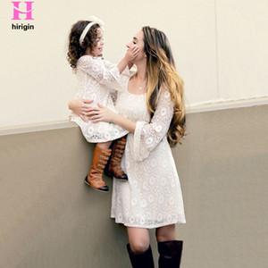 Mom Daughter Familia ropa a juego de manga larga vestidos de elegante del cordón de la técnica hija de la madre Vestidos Ropa Casual