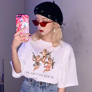 Mode Design T-Shirts für Frauen Rosa Engel Muster Print T-Shirt Kurzarm Tops plus weibliche T-Shirts Größe T-Shirt WC66