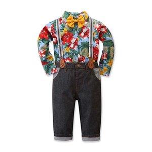 Sets enfants tout-petits enfants garçons bébé Bow Tie Pantalons imprimé floral Shirt Gentleman Costume enfants vêtement de vêtements Drop Shipping