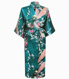 Großhandelsqualitäts-grüne Frauen-lange Robe-Sommer-Satin-Rayon-Nachthemd-Kimono-Kleid-Pfau-Blumen-Nachtwäsche S M L XL XXL XXXL A-112
