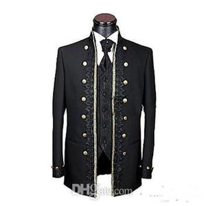 Dernier Tuxedos Groom simple bouton 7 revers non ventilé Mandarin Meilleur Costume Homme Costume Groom Wear hommes (veste + veste + pantalon) XF289