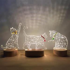 3d masif ahşap hediye USB güç kaynağı LED kedi gece lambası hediye Hanfeng ev Sevgililer Günü hediyesi 10136