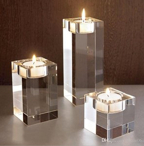 Square Clear Crystal Candle Holder Candlesticks Acrylic Tea Light Candle Holders Wedding Christmas Party DIY Decoration favors gift